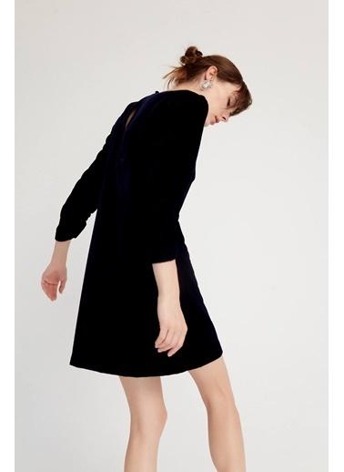 Rue Kadife Mini Elbise Lacivert